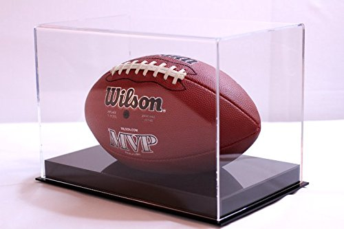 Football Display Case with Black Cut Out Base NFL NCAA Collectible UV Filtering - Plastic Football Case