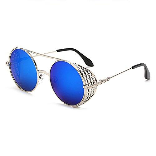 Unisexe Trendy Cadre Vintage de ZHHL Creux Soleil Protection UV400 Lunettes Rétro Femmes Blue Soleil de Métal Lunettes Joker Ronde Lunettes 1UqUndA