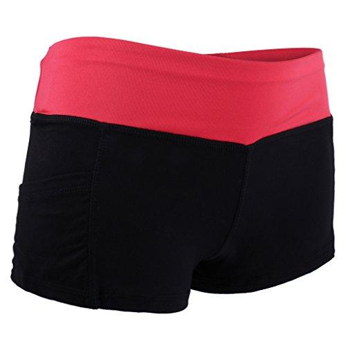 Gazechimp Pantalones Cortos Del Deporte Aptitud De Funcionamiento Del Gimnasio De Yoga Pantalones Cortos Para Mujeres Del Verano negro+rojo