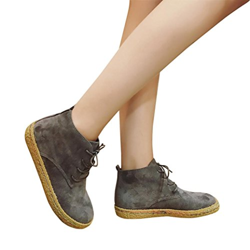 Elevin(TM)2017Women Winter Fashion Suede Leather Lace-Up Boots Soft Flat Ankle Martin Shoes (5.5US, Gray)