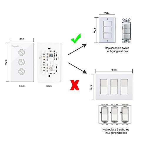 Smart Wifi Light Switches Touch Wall Switch Panel Replace 3 Switches on 3 gang switch cover, three switches one light diagram, 3 gang wall box, 3 gang light switch, 3 gang weatherproof box cover, 3 gang electrical switches,