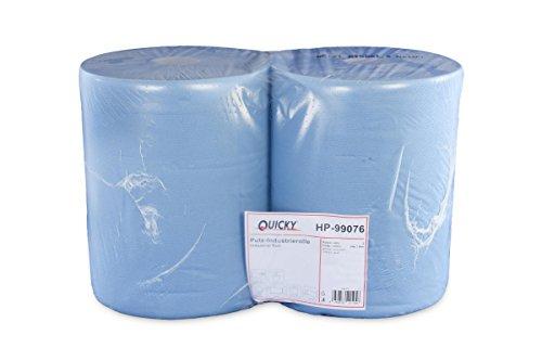 Quicky Putzpapierrollen, 2 lagig, blau, circa 36 cm, 1000 Blatt, 1er Pack (1 x 2 Stück)