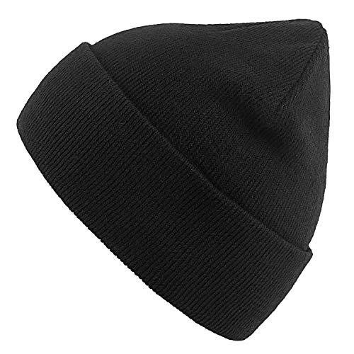 GuardRow Beanie Men & Women - Unisex Cuffed Plain Skull Knit Hat Cap Black, Large