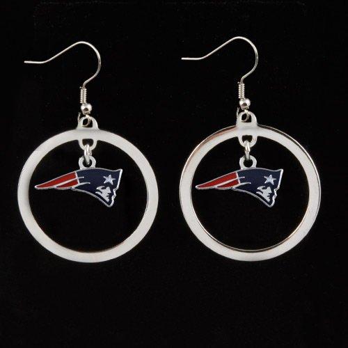 Sports Team Logo New England Patriots Charm Hoop Earring Set
