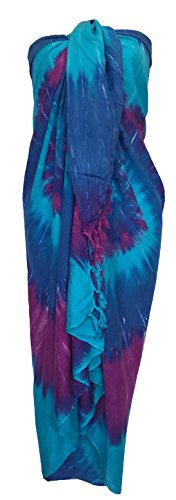 Sarong Wrap From Bali Your Choice of Design Beach Cover Up (Tye Dye Purple Blue)
