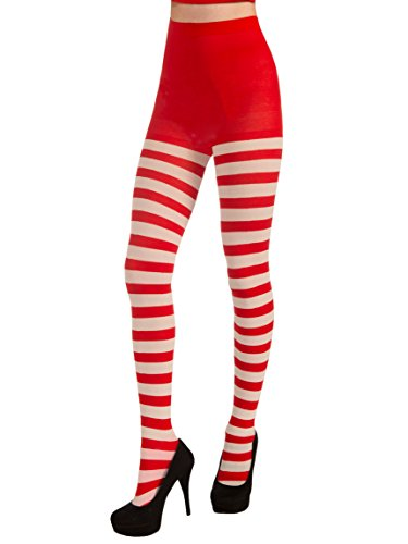 (Forum Novelties Women's Adult Christmas Striped Tights, Red/White, One)