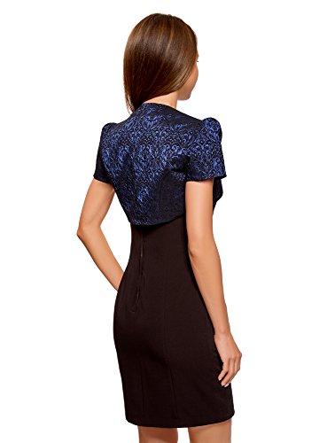 Oodji Tejido Jacquard 7529j Bolero Chaqueta Mujer Collection Azul De rfwTr4O
