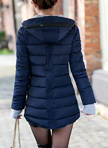 Cotton Fit Coats Long Blue H Winter Parkas Slim Navy amp;E Mid Women Hoodie Padded Outerwear InS4Caqw