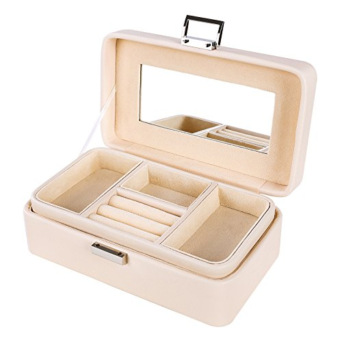 SONGMICS Girls Jewelry Box 2 layer Organizer Mirrored Jewelry Case Faux Leather, Gift for Mom, Cream UJBC141 by SONGMICS