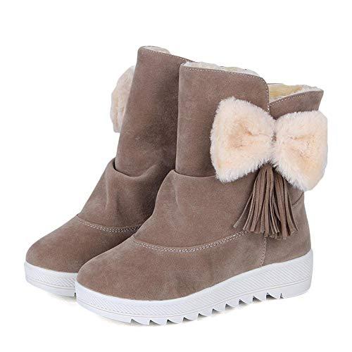 Donna Scarpe Calde Tacco Invernali Cachi Boots Autunno Stivaletti Con Stivali Lanskrlsp 658wBq1n