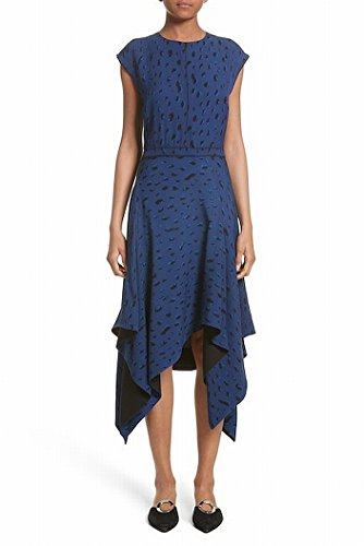 Proenza Schouler Animal Print Women A-Line Dress Silk Blue (Animal Print Silk Dress)