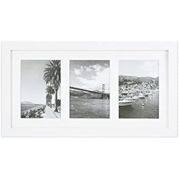 Golden State Art, 9x18 White Photo Wood Collage Frame with White Mat,  displays (3) 5x7 Pictures with Real Glass