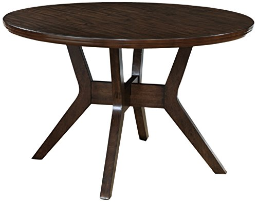 HOMES: Inside + Out IDF-3354RT Jenka Walnut Jenak Mid-Century Modern Round Dining Table