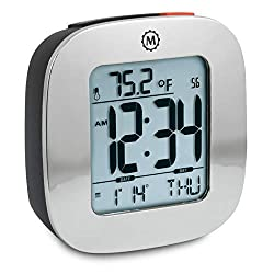 Marathon CL030058SV Small Compact Alarm Clock with Repeating Snooze, Light, Date and Temperature. Batteries Included Travel Collection. Special Edition Color - Silver.