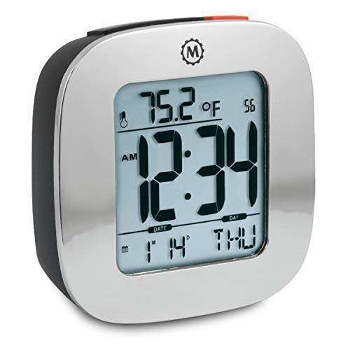 Marathon Small Compact Alarm Clock with Repeating Snooze, Light, Date and Temperature. Batteries Included Travel Collection - Special Edition - CL030058SV (Polished Silver)