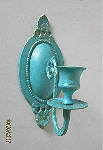 (Brass Single Wall Candleholder, Candle Holders, Wall Sconce, Wall Decor, Wall hanging, Distressed Aqua and Gold, Nursery Room Decor)
