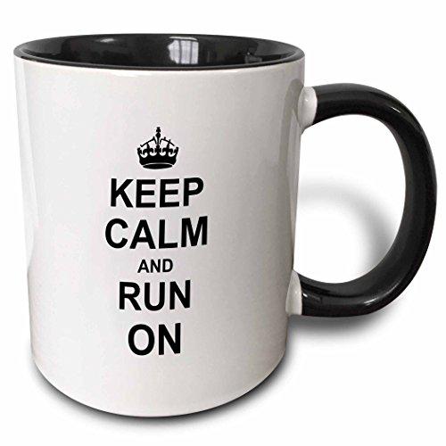 3dRose 157767_4 Keep Calm and Run on Mug, 11 oz, Black