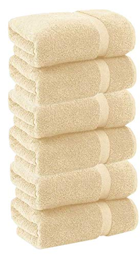 HomeLabels Cotton Soft Spa Bath Towels, Ultra Soft Large Bath Towel, Home Gym Spa Hotel, Ideal for Daily use Highly Absorbent Hotel spa Bathroom Towel Collection | 22×44 Inch | Set of 6 Beige