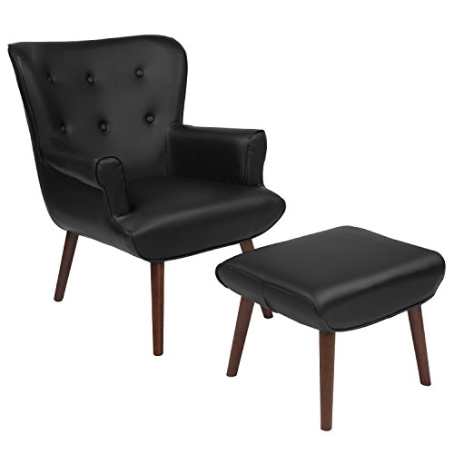 Flash Furniture Bayton Upholstered Wingback Chair with Ottoman in Black Leather (Back Leather Wing Chair)