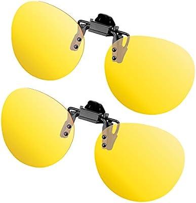 Splaks - Accesorios para gafas de sol, 2 unidades, clip polarizado, gafas de sol contra la luz, ideales para conducción nocturna, mujeres, hombres, ...