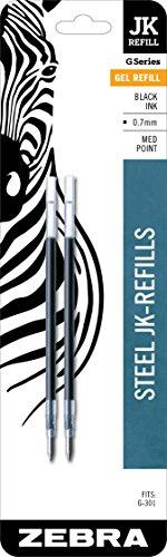 Zebra Pen Gel Refill, 0.7mm, Medium Point, 2/Pack, Black