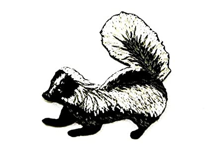 Badger embroidered iron on motif applique black white each