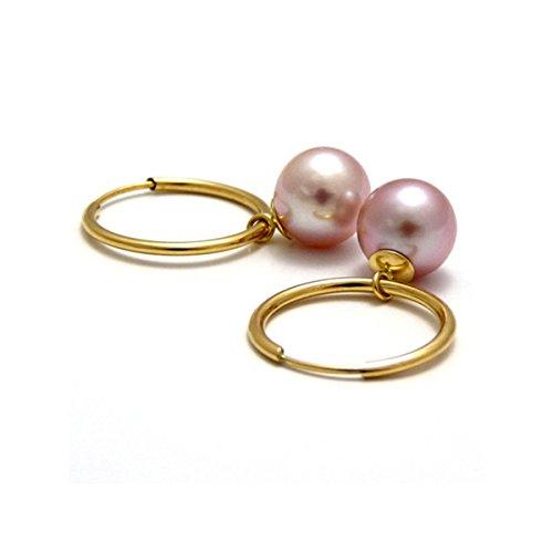 Créoles Or 18 K et perles de culture roses