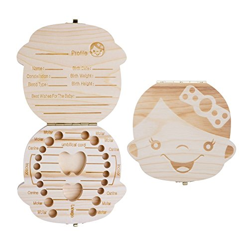 (T-Language Baby Tooth Box by Children's Teeth Preserve Wooden Teeth Boxes Commemorating Children's Every Moment of Growth Girl)