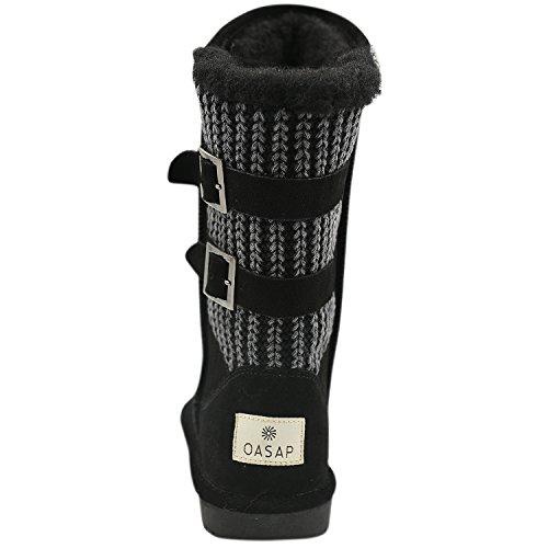 Oasap Women's Ribbed Knit Buckle Winter Waterproof Tall Snow Fur Lined Boots Black