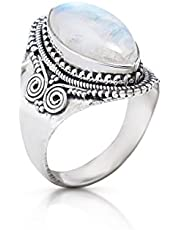 Koral Jewelry Moonstone Vintage Gipsy Ring 925 Sterling Silver Boho Chic US Size 7 8 9