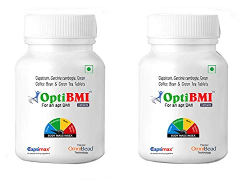 Opti BMI - Natural Weight Loss Supplement and Fat Burner with Capsicum Extract, Garcinia Cambogia Extract,Green Coffee Bean Extract and Green Tea Extract - 30 Veg Tablets by OmniWellness-Pack of 2