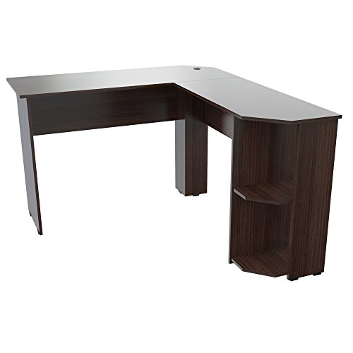 Inval ET-4115 Merlin L-Shape Corner Desk, Espresso-Wengue (Inval L Shaped Desk)