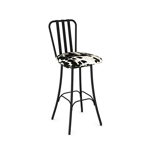 (Amisco Club Swivel Metal Counter Stool in Textured Black Metal and Soft Black and White Faux Cowhide Fabric)
