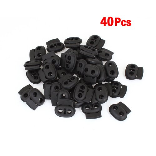 SODIAL(R) Double Hole Spring Loaded Drawstring Rope Cord Locks Black 40 Pcs