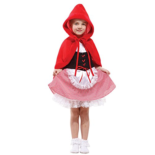 DREAMOWL Girls Little Red Riding Hood Halloween Costumes Child Role Play Cosplay Dress up (8-12) ()