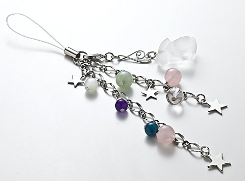 Kisaragi Cell phone strap)Wish happiness White Rabbit seven natural stone strap (Wish Cell Phone Charm)