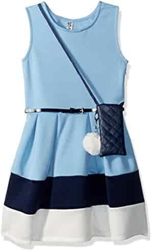 Beautees Big Girls' Sl/Less Colorblock Skater Dress