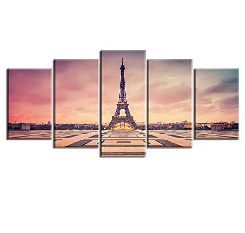 Paris France Oil Painting - Paris Picture Canvas Prints for Bedroom, PIY Romantic Dusk Wall Art of France Eiffel Tower Painting, 1