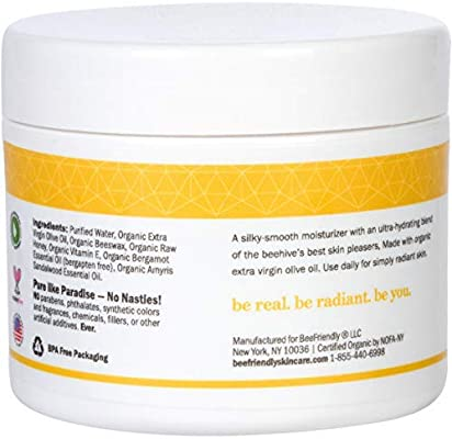 BeeFriendly Face and Eye Cream All Natural USDA Certified Organic Moisturizer, All In One Face, Eye, Neck, Decollete Cream, 2 oz