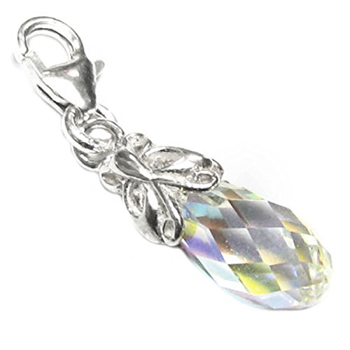 Swarovski Elements Clear Aurora Borealis Teardrop Sterling Silver Butterfly European Style Clasp ()