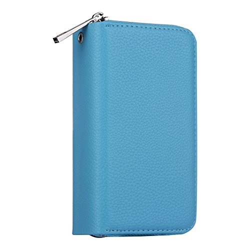 OuDu Funda de Billetera en PU Cuero para Samsung Galaxy S7 Carcasa Desmontable Flip Leather Wallet Handbag Case Cover Bumper Cartera Suave Ligero Flexible Bolso Anti Rasguños Anti Choque Caja en Silic Azul