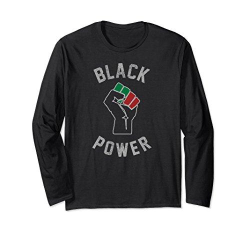Fist Adult T-shirt (Unisex Black Power Fist Long Sleeve T-Shirt Medium Black)