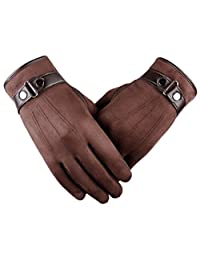 Tomily Men's Texting Touchscreen Gloves Winter Warm Outdoor Cycling Gloves (Brown)