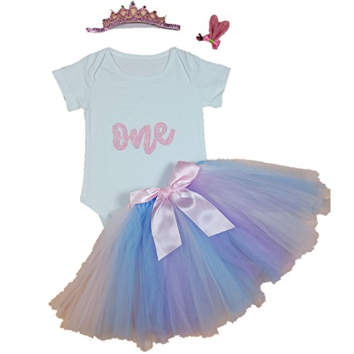 AISHIONY 4PCs Baby Girls' 1st Birthday Pink Tutu Onesie Skirt Dress Outfit XL ()