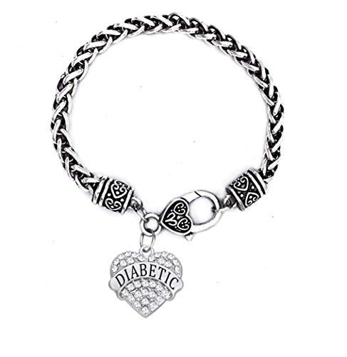 Diabetic Bracelets for Women White Rose Red Geen Blue Rhinestone Heart Pendant (White)