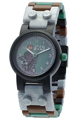 LEGO Star Wars Chewbacca Kids Buildable Watch with Link Bracelet and Minifigure | brown/green | plastic | 28mm case diameter| analogue quartz | boy girl | official (Lego Watch Vader Darth)