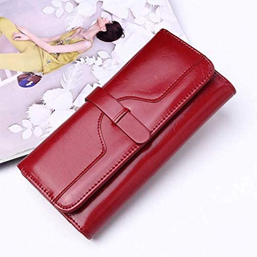 Color: Burgundy Xennos Wallets Yirenfang 2018 Womens Wallets and Purses Famous Brand Long Money Clip Wallet Women Luxury Leather Clutch Girl Retro Ladies