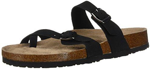 (Skechers Women's Granola-Opt Out-Double Buckle Toe Thong Slide Flip-Flop, Black, 9 M US)
