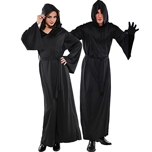 AMSCAN Nylon Horror Robe Halloween Costume for Adults, Black, One Size ()