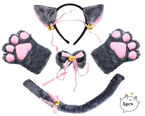 Beelittle Cat Cosplay Costume Kitten Ears Tail Collar Paws Cat Cosplay Collection 5 Pack -